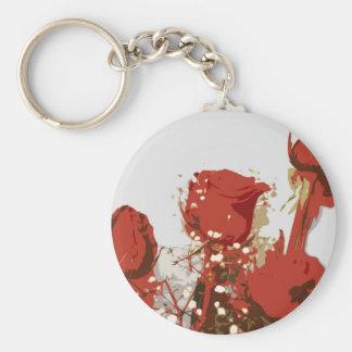 Arte de Digitaces de los rosas rojos Llavero Redondo Tipo Pin