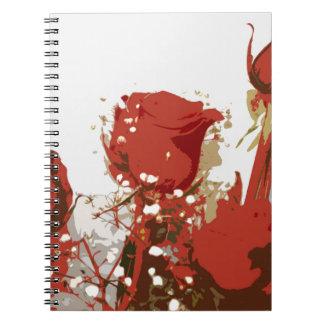Arte de Digitaces de los rosas rojos Note Book