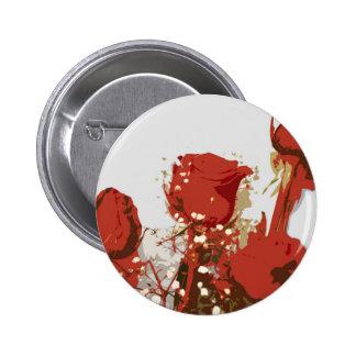 Arte de Digitaces de los rosas rojos Pin Redondo De 2 Pulgadas