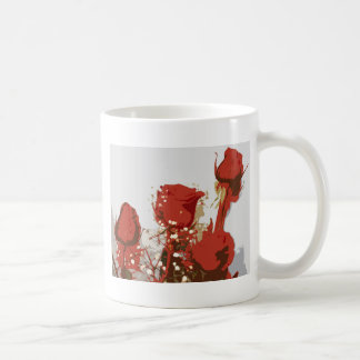 Arte de Digitaces de los rosas rojos Taza Clásica