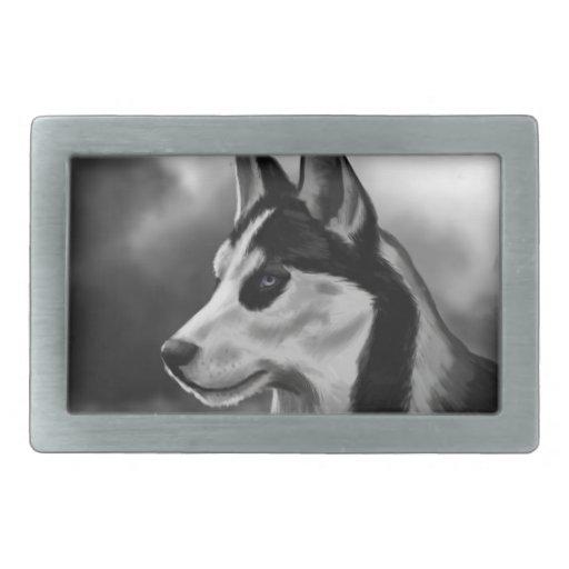 Arte de Digitaces del retrato del perro del husky  Hebilla Cinturon Rectangular