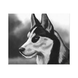 Arte de Digitaces del retrato del perro del husky Lona Envuelta Para Galerias