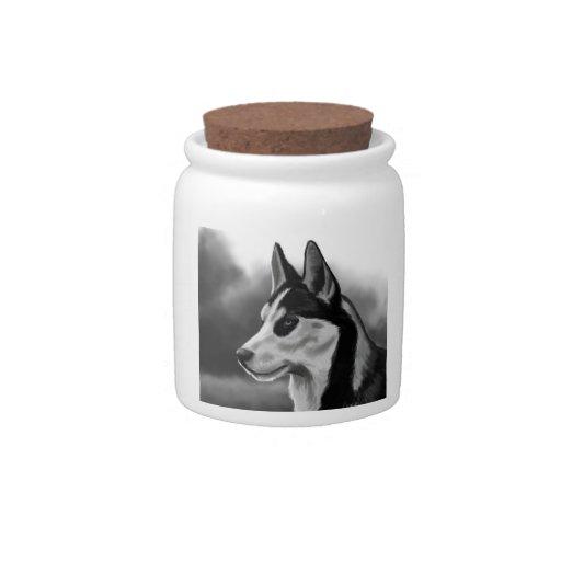 Arte de Digitaces del retrato del perro del husky  Platos Para Caramelos