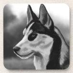 Arte de Digitaces del retrato del perro del husky  Posavasos