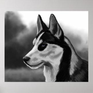 Arte de Digitaces del retrato del perro del husky  Póster