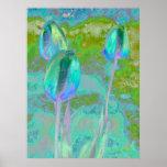 Arte de Digitaces del tulipán de la aguamarina Posters