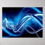 Arte de Digitaces - ondas sinusoidales azules Posters