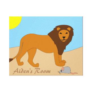 Arte de encargo de la lona del león y del ratón impresión en lona
