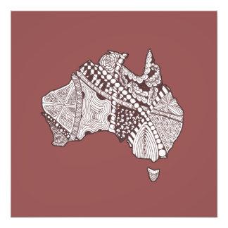Arte de encargo del mapa de Australia del color Fotografía