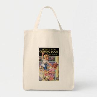 Arte de enlatado del anuncio de la comida del vint bolsa de mano