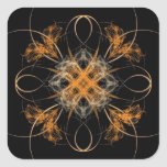 Arte de forma diamantada del fractal del naranja y calcomanía cuadradas personalizadas