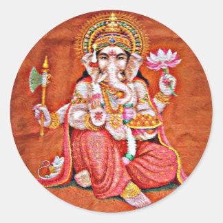 Arte de Ganesh Pegatina Redonda