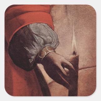 Arte de Georges de La Tour Pegatina Cuadrada