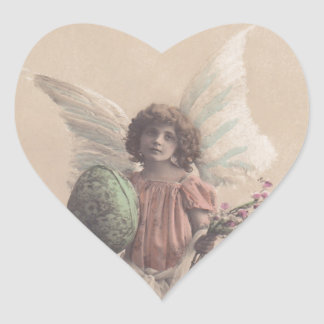 Arte de Gifting del ángel de Pascua de la antigüed Pegatinas Corazon
