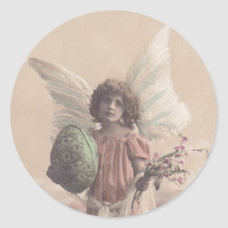 Arte de Gifting del ángel de Pascua de la Pegatina Redonda