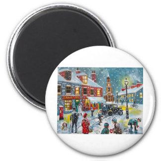 Arte de Gordon Bruce de la nieve del invierno de l Imán Redondo 5 Cm