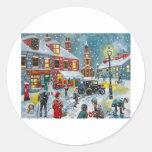 Arte de Gordon Bruce de la nieve del invierno de Pegatina Redonda