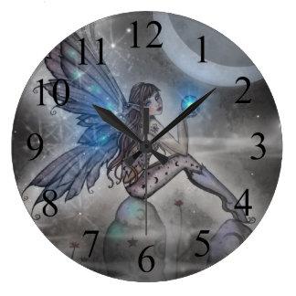 Arte de hadas azul místico de la fantasía reloj de pared