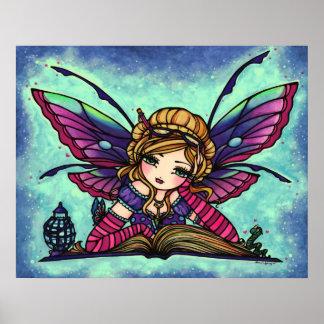 Arte de hadas de la fantasía de la biblioteca del  poster