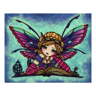 Arte de hadas de la fantasía de la biblioteca del  póster