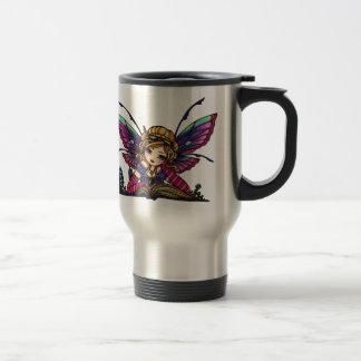 Arte de hadas de la fantasía de la biblioteca del taza de viaje de acero inoxidable