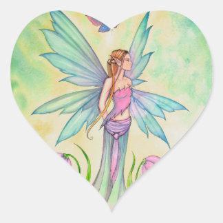Arte de hadas de la fantasía de la mariposa de la pegatina en forma de corazón