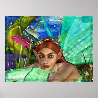 Arte de hadas de la fantasía del encantamiento póster