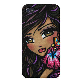 Arte de hadas de la fantasía del hibisco de Aliah iPhone 4/4S Carcasas