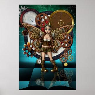 Arte de hadas de la fantasía del poster de Steampu