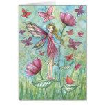 Arte de hadas de la mariposa de las amapolas extra felicitación