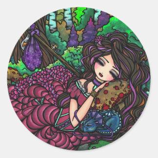 """""""Arte de hadas del bosque de la fantasía de la Pegatina Redonda"""