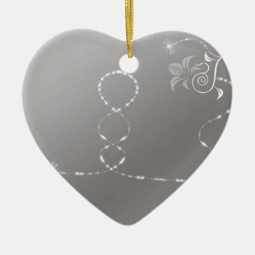 Arte de hadas fresco abstracto adorno navideño de cerámica en forma de corazón