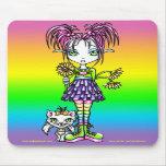 Arte de hadas Mousepad del arco iris lindo del gat Tapete De Ratones