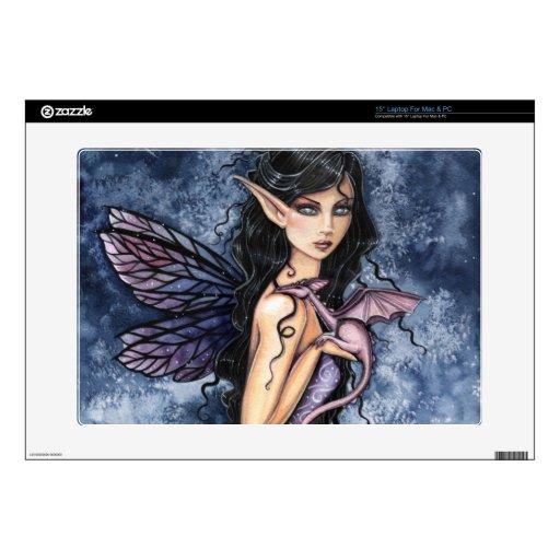 Arte de hadas púrpura de la fantasía del dragón Am Skins Para 38,1cm Portátil
