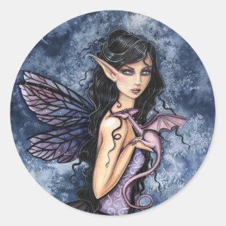 Arte de hadas púrpura de la fantasía del dragón pegatinas redondas