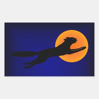 Arte de Halloween del vintage del gato negro Etiqueta