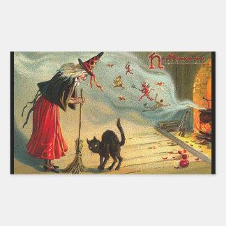 ¡Arte de Halloween del vintage - el gato encuentra Pegatina