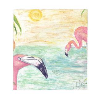 Arte de la acuarela de dos flamencos de la Florida Bloc De Notas