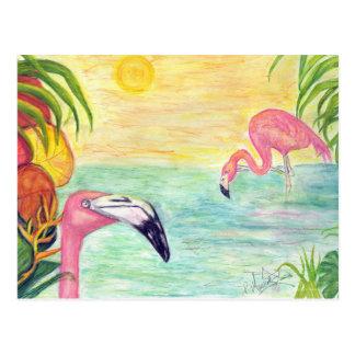 Arte de la acuarela de dos flamencos de la Florida Postales