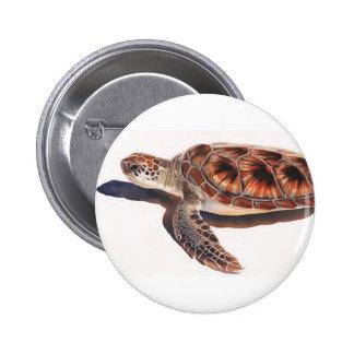 Arte de la acuarela de la fauna de la tortuga de m pin redondo 5 cm