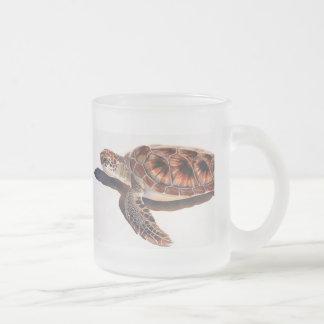 Arte de la acuarela de la fauna de la tortuga de taza de cristal
