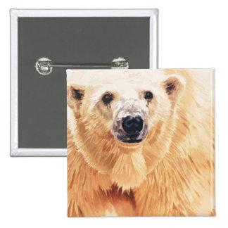 Arte de la acuarela de la fauna del oso polar de l pin cuadrada 5 cm