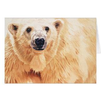 Arte de la acuarela de la fauna del oso polar de l felicitación