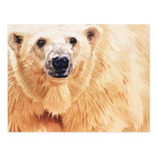 Arte de la acuarela de la fauna del oso polar de l postales