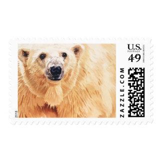 Arte de la acuarela de la fauna del oso polar de sello