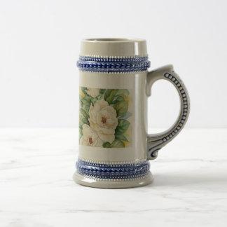Arte de la acuarela de la flor de la magnolia - jarra de cerveza