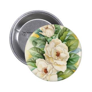 Arte de la acuarela de la flor de la magnolia - mu pin redondo 5 cm
