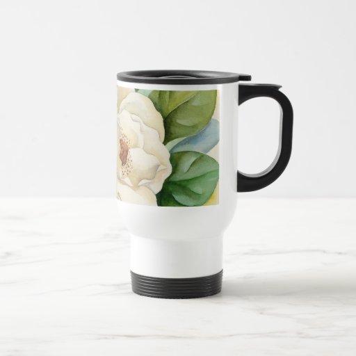 Arte de la acuarela de la flor de la magnolia - mu taza de café