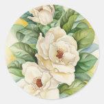 Arte de la acuarela de la flor de la magnolia - etiqueta redonda