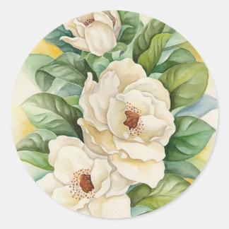 Arte de la acuarela de la flor de la magnolia - pegatina redonda